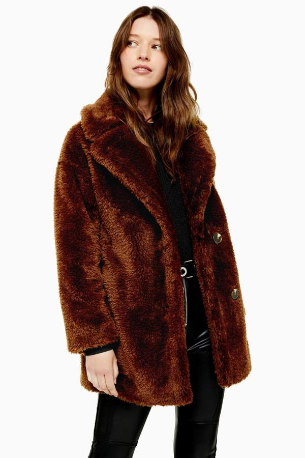 Topshop Womens Chocolate Brown Soft Borg Coat - Chocolate