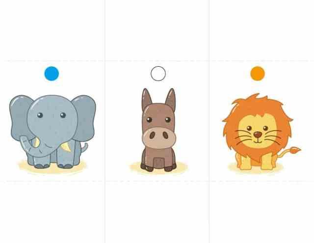 骰子動物圖卡 免費下載 (大象 馬 獅子)