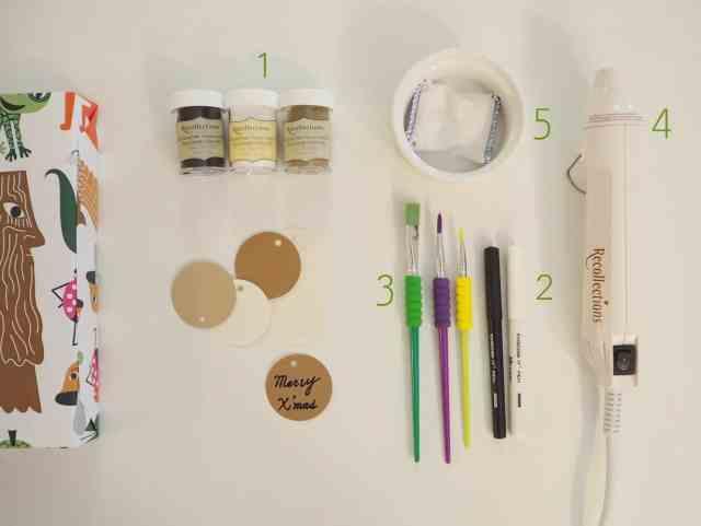 自製燙凸禮物標籤準備工具 Embossing gift tags