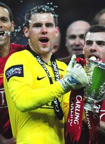 Ben Foster trophy celeb Manchester United v Tottenham Carling Cup final