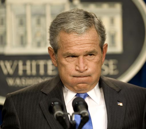 George W. Bush at a press conference.