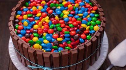 Bucket Of M M S Kit Kat Cake Recipe Food Com