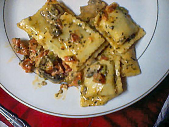 Beef Ravioli In Basil Cream Sauce Recipe Genius Kitchen