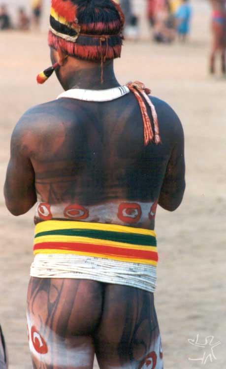 Kalapalo paramentado para o Egitsu (Kwarup). Foto: Beto Ricardo, 2002.
