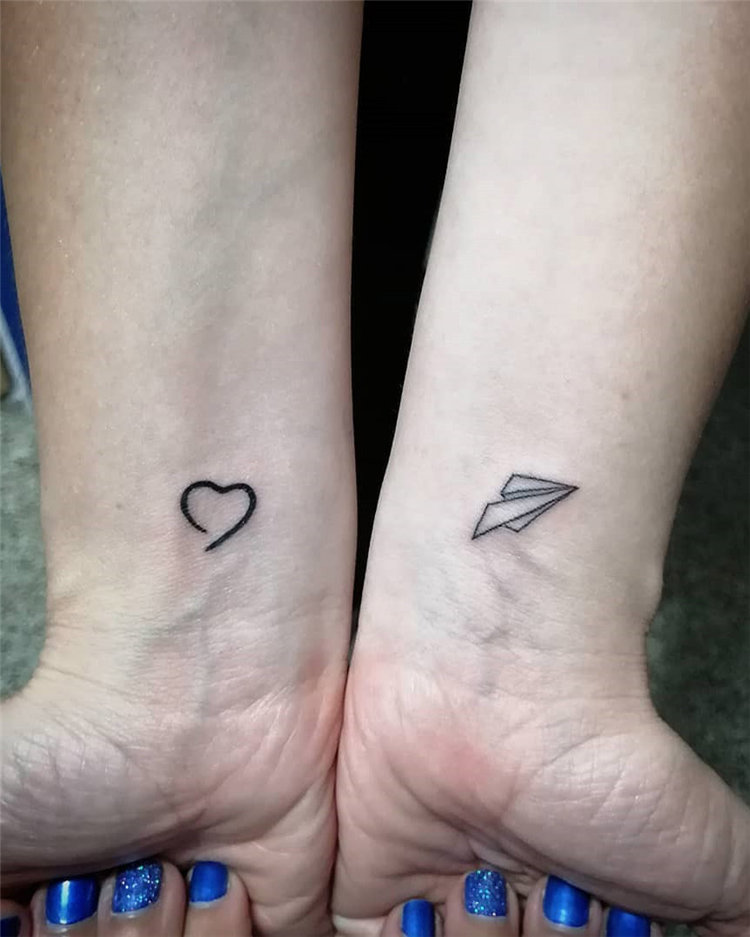 Heart shape and airplane tattoo, Are you looking for cute small tattoo ideas and inspiration, you can check out these 100 cute little tattoo ideas to inspire you!