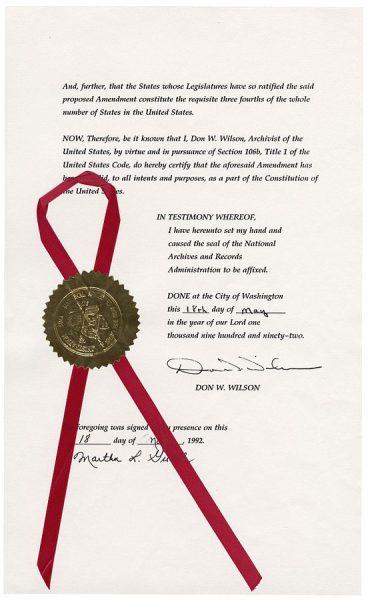 宣布第27修正案成為美國憲法一部分的官方公告 (維基百科)