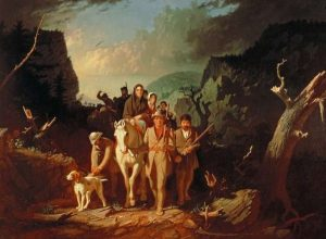 """丹尼爾·伯恩護送新移民穿過坎伯蘭峽谷的'荒野之路"""" 前往肯塔基 (Wikipedia)"""