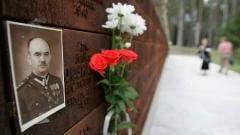 Mémorial des victimes de Katyn, portrait d'un officier polonais   tué par les Soviétiques.