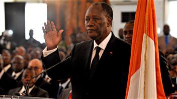Alassane Ouattara prête serment comme président de la Côte d'Ivoire le 6 mai 2011 à Abidjan. AFP/Issouf Sanogo