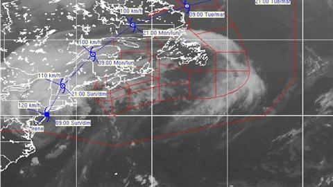La trajectoire de l'ouragan Irene au Canada