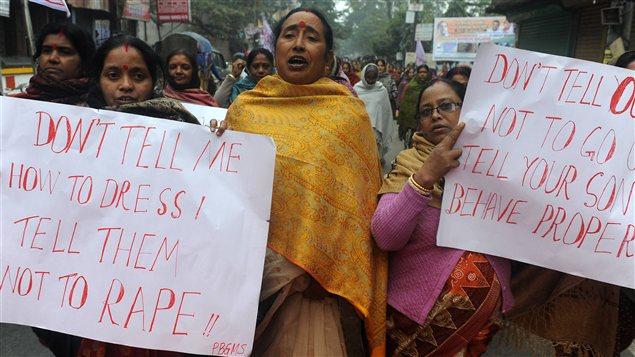Manifestation ayant eu lieu en protestation contre le viol d'une jeune indienne en décembre.
