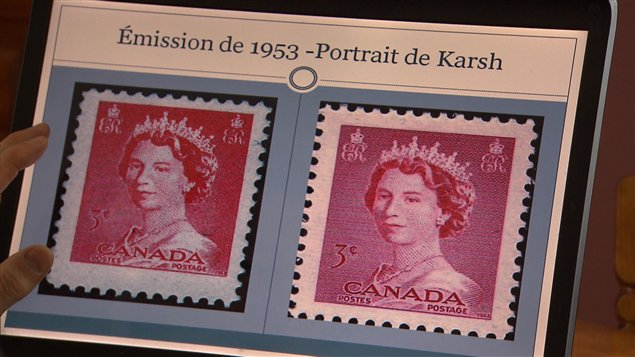 Le premier timbre contrefait de l'histoire canadienne, produit en 1953, comparé à sa version légitime, à droite.