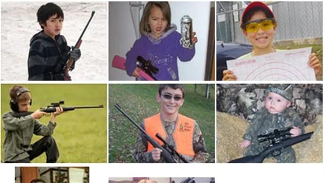 Le site Internet de Crickett est illustré avec de nombreuses photos d'enfants tenant des fusils.