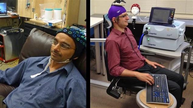 Les chercheurs Rajesh Rao et Andrea Stocco lors de l'expérience.