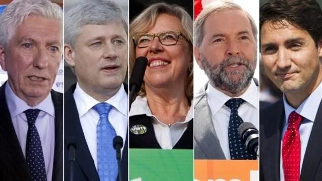 De gauche à droite : Gilles Duceppe, Stephen Harper, Elizabeth May, Thomas Mulcair et Justin Trudeau