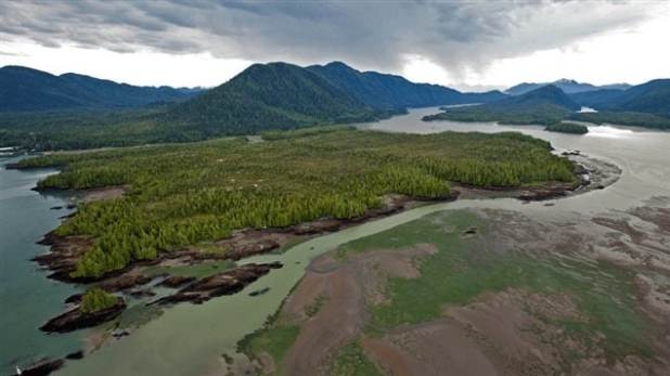 Lelu Island where Petronas wants to create a huge LNG port. Environmentalists say a cricial salmon area, while First Nations say it's their territory and they haven't been consulted.