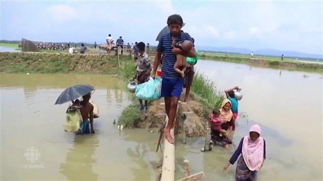 缅甸罗兴亚难民在逃离战火和死亡