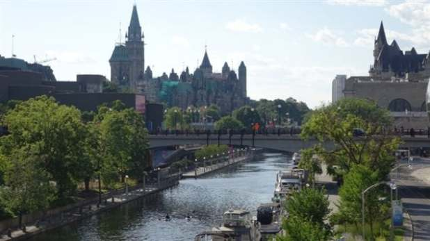 View of Parliament Hill, the Rideau Canal and the Château Laurier Hotel. Parts of the canal in the city show sediment at the bottom is contaminated with heavymetals and othertoxins. Fish are now being tested.