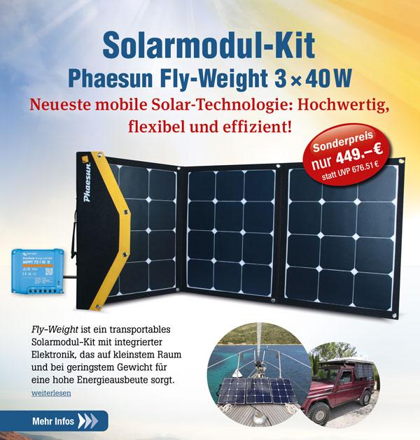 Solar Modul - Kit Phaesun Fly-Weight 3 × 40 W Ladegerät