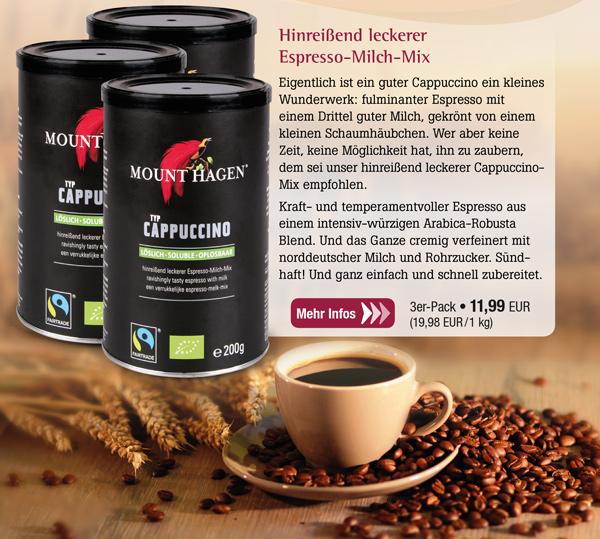 3er-Pack Mount Hagen Bio Cappuccino - löslich