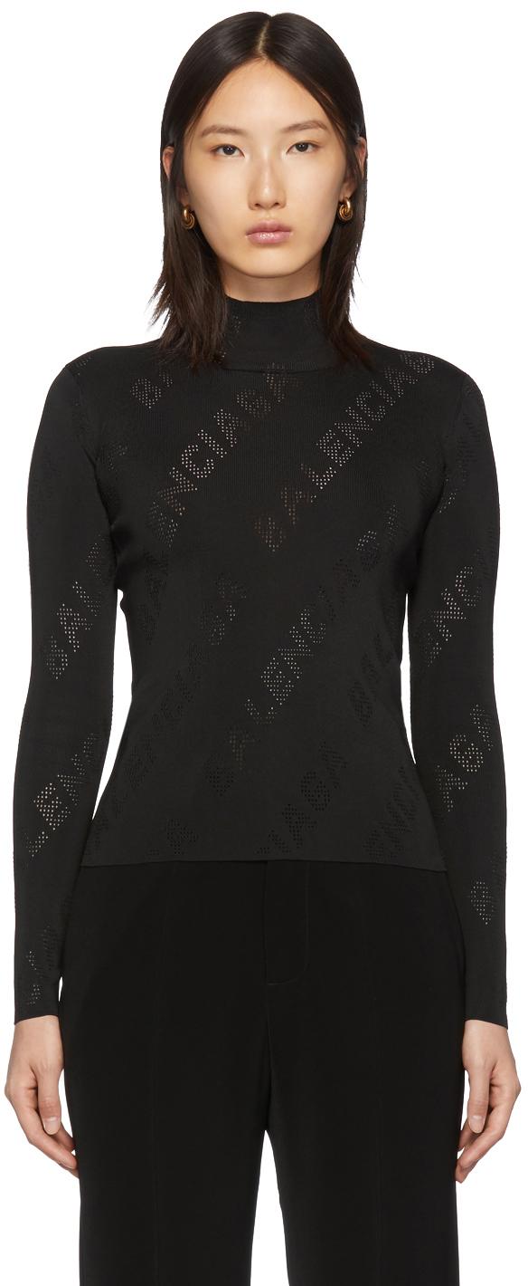 Balenciaga Black Knit Perforated Logo Turtleneck