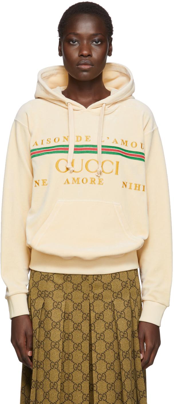 Gucci Beige Chenille Logo Hoodie