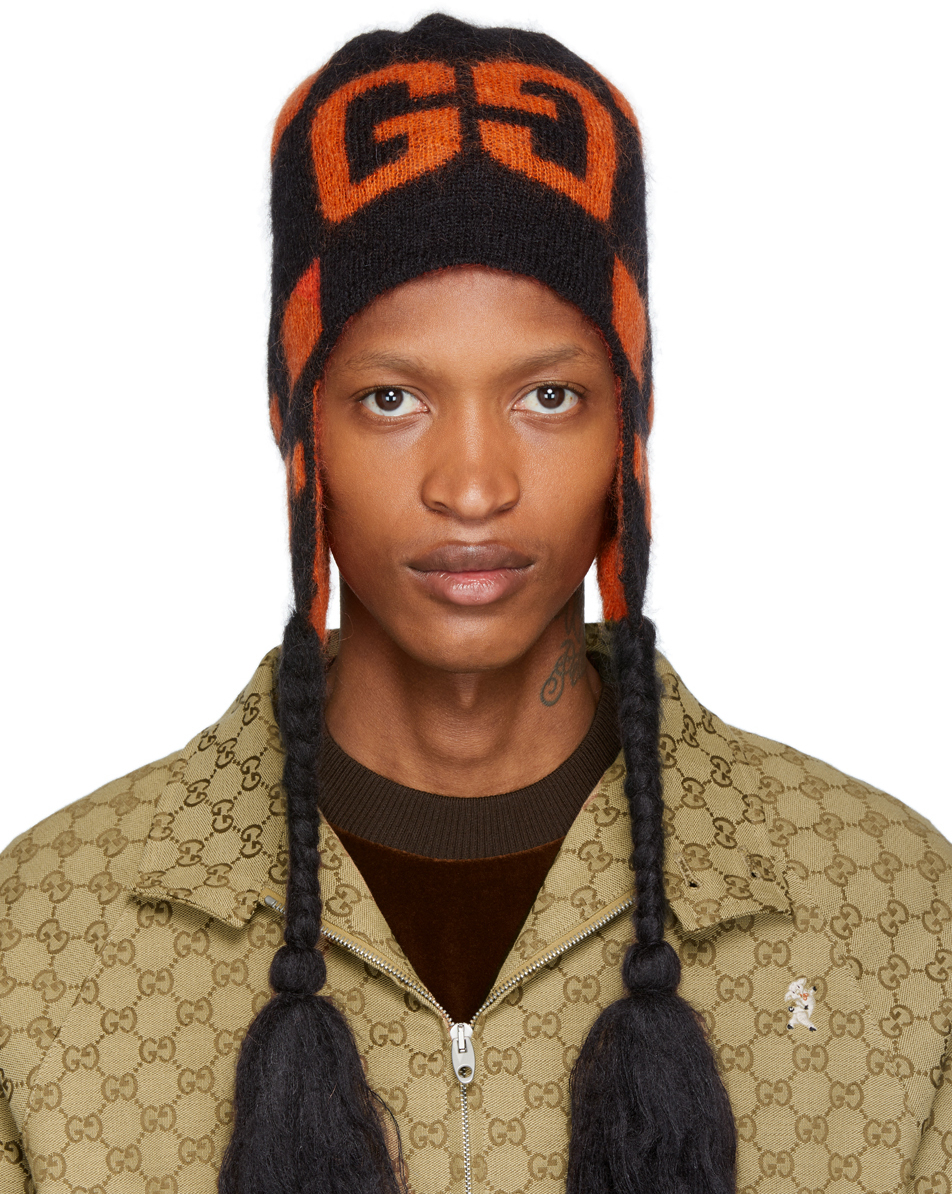 Gucci Black & Orange Mohair Ski Beanie