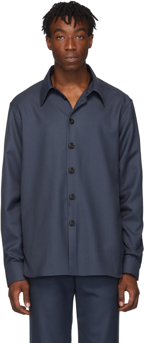 Gucci Blue Drill Military Shirt