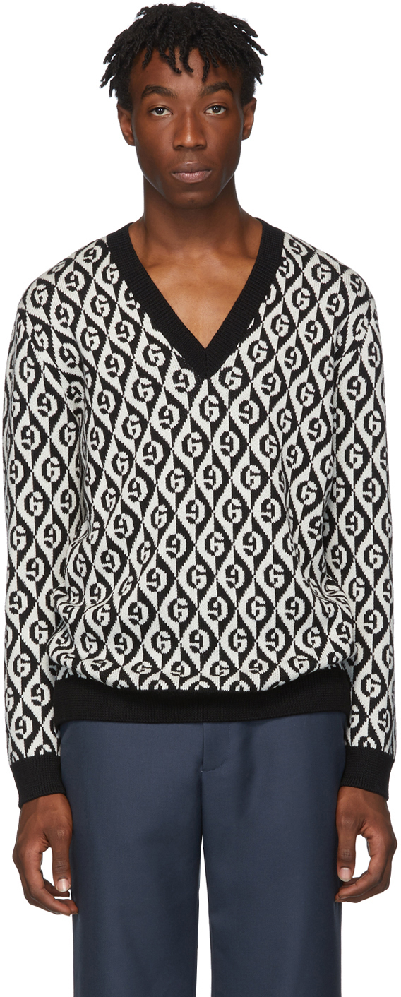 Gucci Black & White G Rhombus V-Neck Sweater