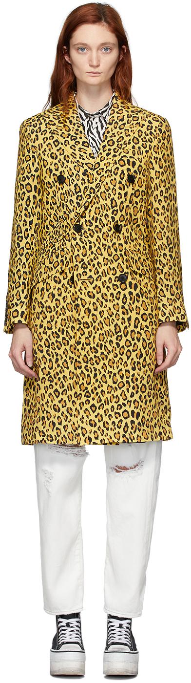 R13 Yellow Leopard Peak Lapel Trench Coat