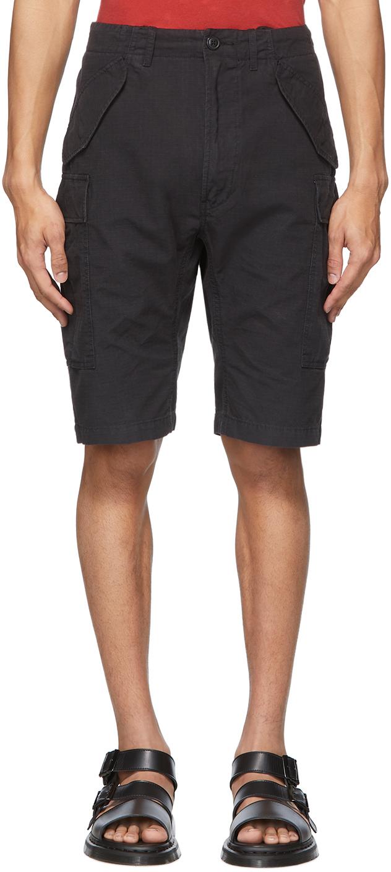R13 Black Military Cargo Shorts