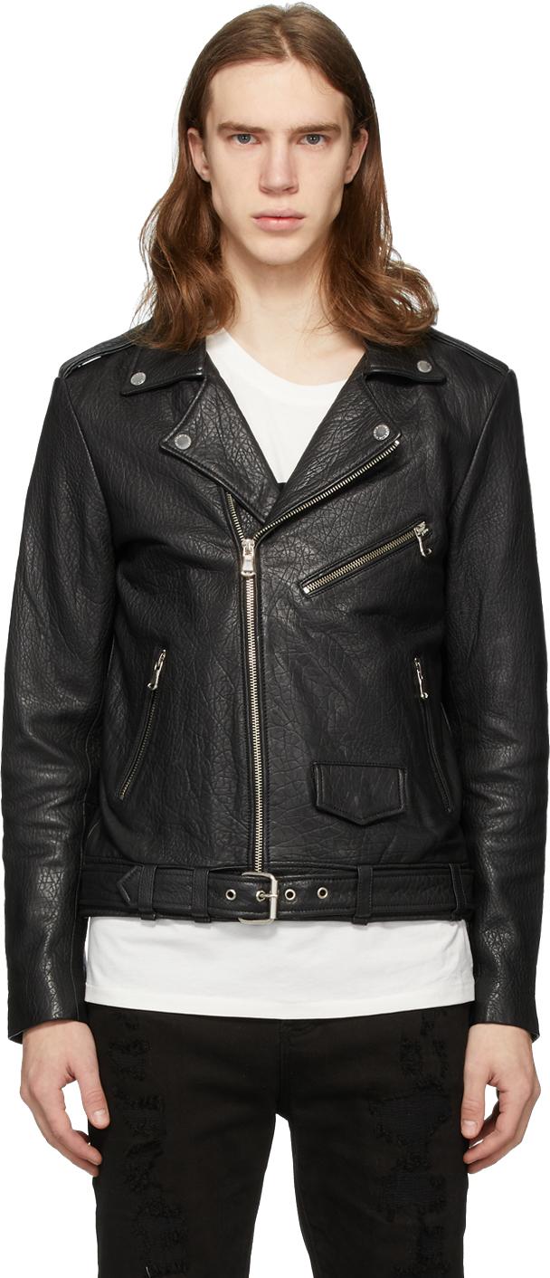 Stolen Girlfriends Club SSENSE Exclusive Black Glitter Logo Leather Jacket