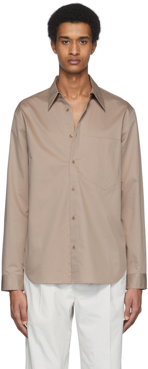 Tibi Beige Eco-Poplin Classic Shirt