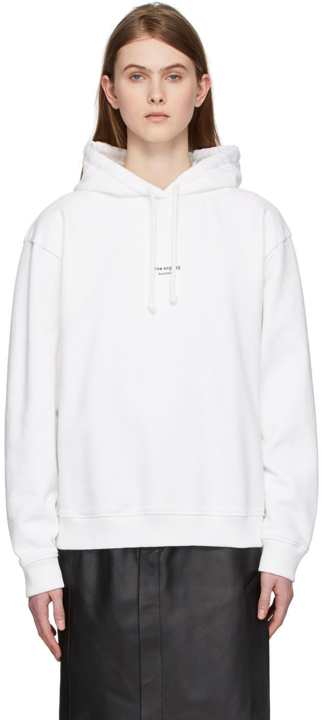 Acne Studios White Reverse Logo Hoodie