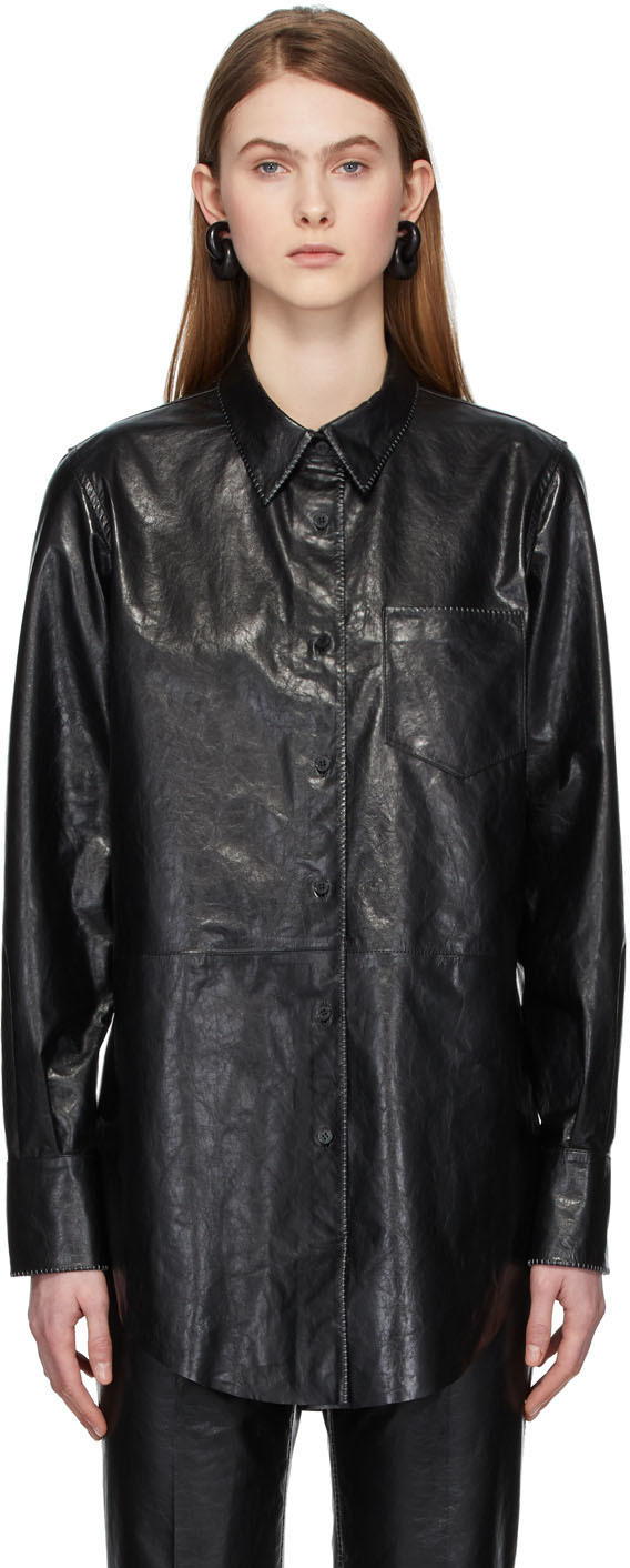 Acne Studios Black Leather Shirt