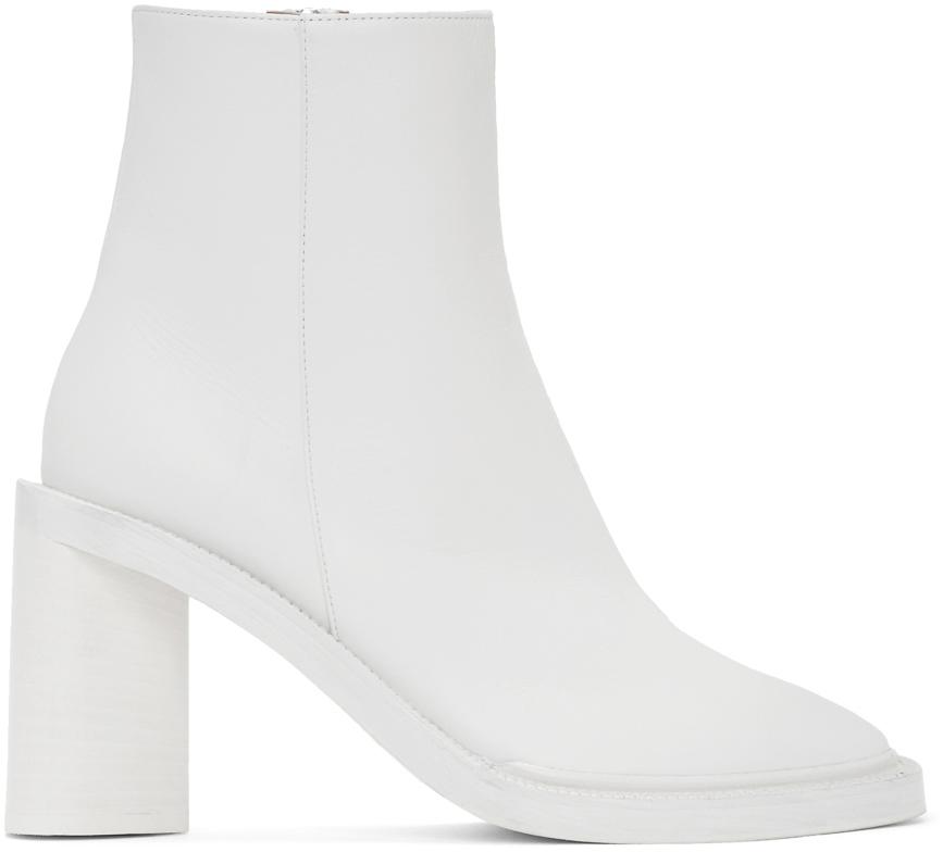 Acne Studios White Square Toe Boots