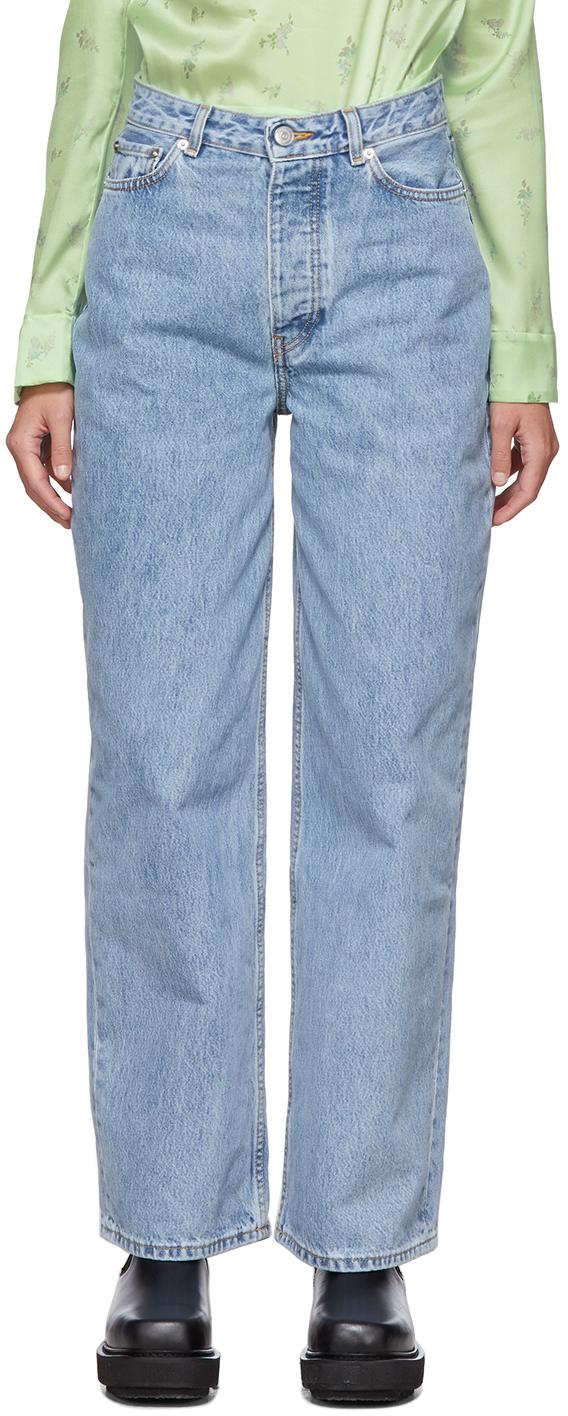 GANNI Blue Denim Low-Rise Jeans