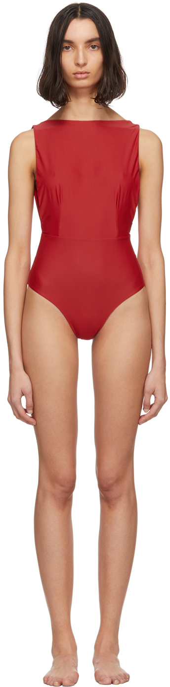 Haight Red Side Slit One-Piece Swimsuit
