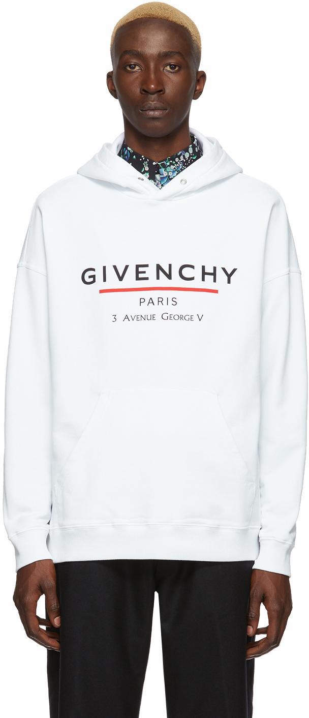 Givenchy White Logo Address Hoodie