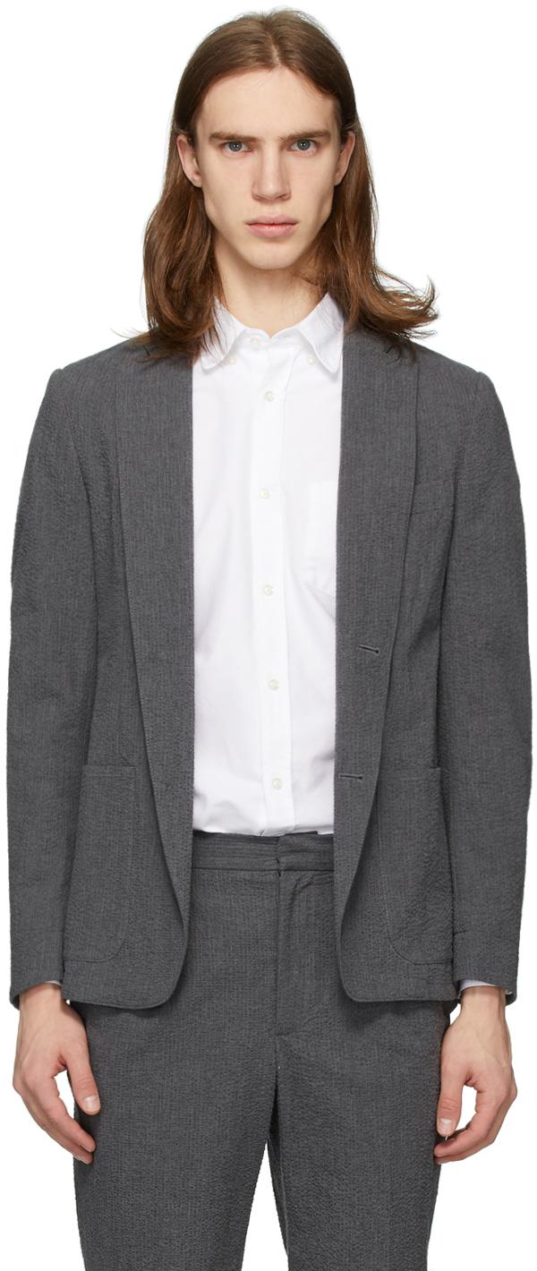 Officine Générale Grey Seersucker Lightest Blazer