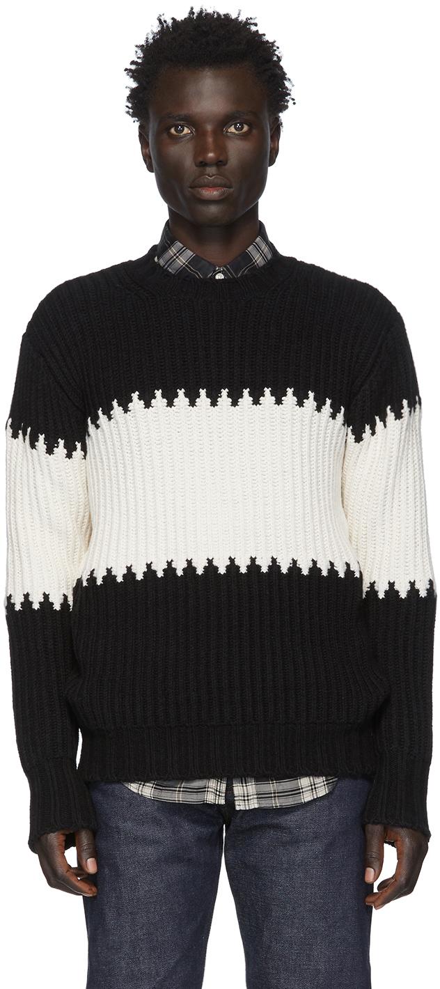Officine Générale Black & White Striped Ribbed Sweater