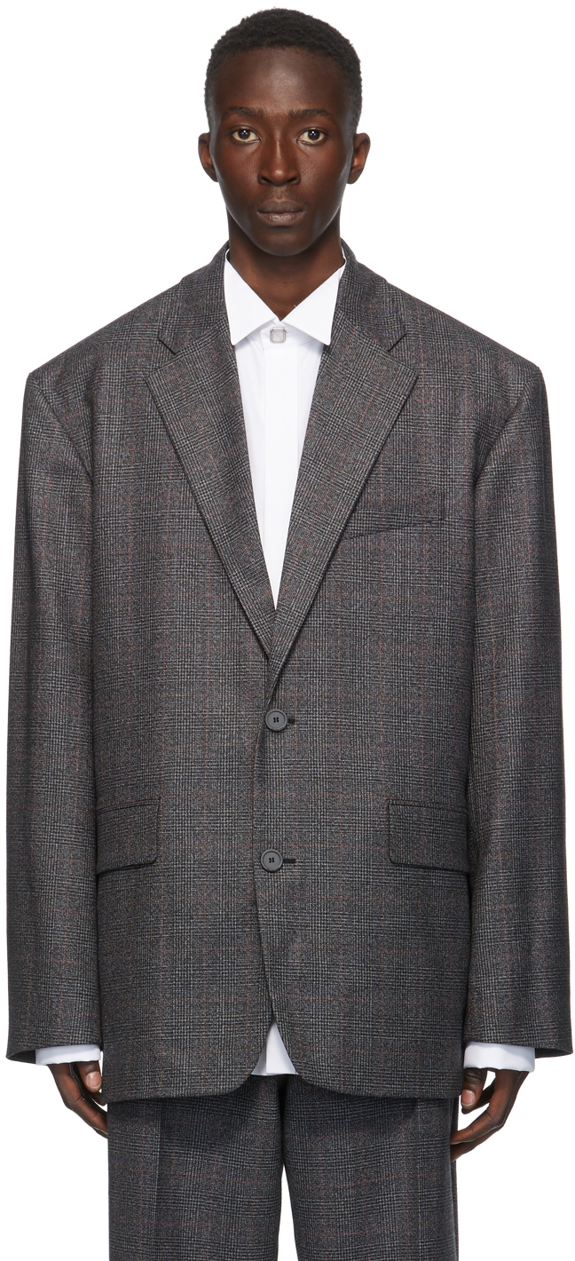 Balenciaga Grey Wool Plaid Boxy Blazer