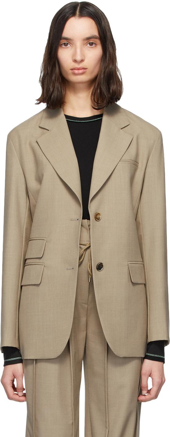 Andersson Bell Beige Wool Cinch Waist Blazer
