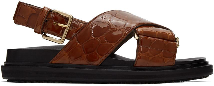Marni Brown Croc Sandals Fussbett Sandals