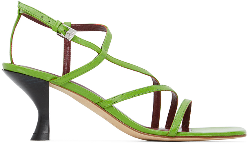 Staud Green Nappa Gita Heeled Sandals