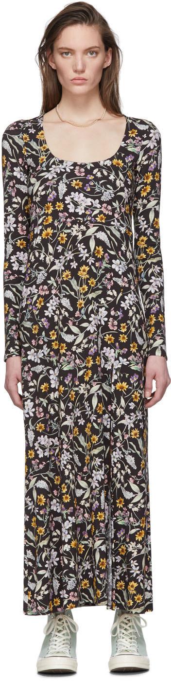 Les Reveries Black Floral Slit Dress