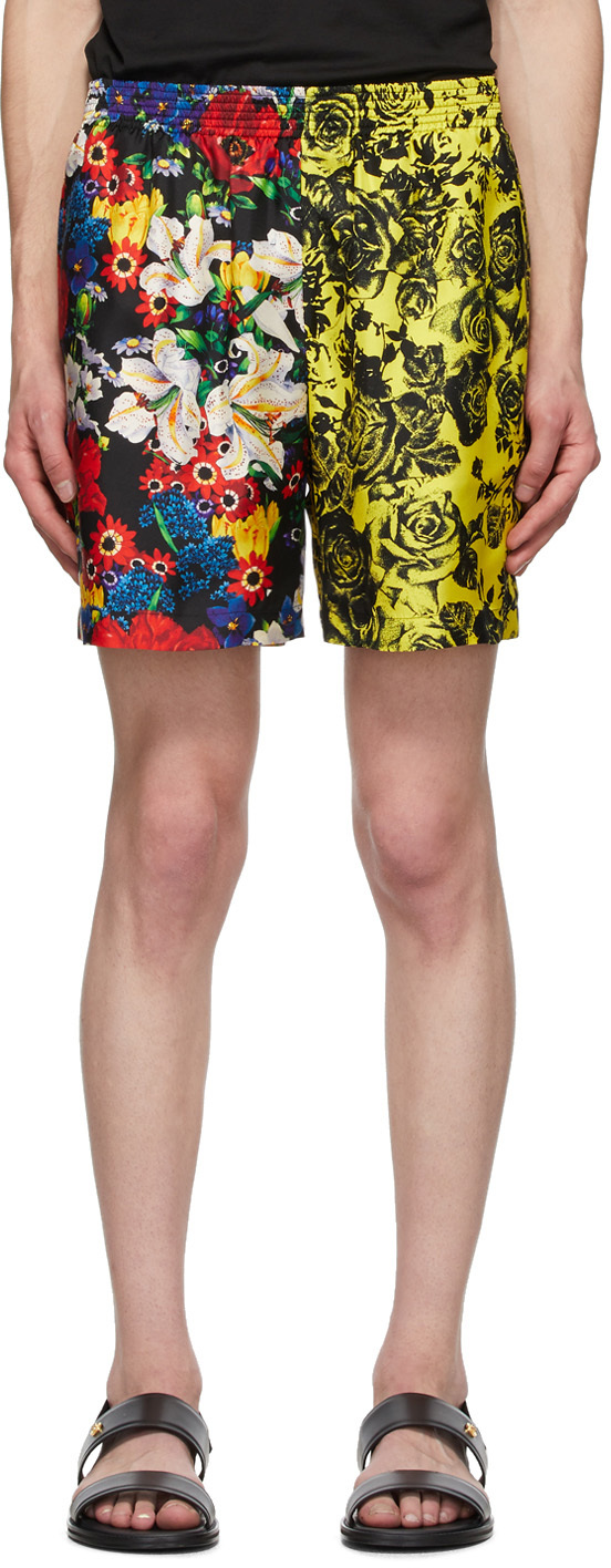 Versace SSENSE Exclusive Multicolor Silk Bouquet Shorts
