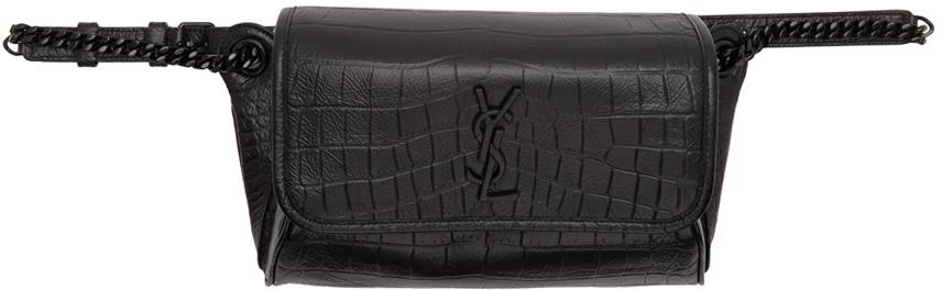 Saint Laurent Black Croc Niki Belt Bag