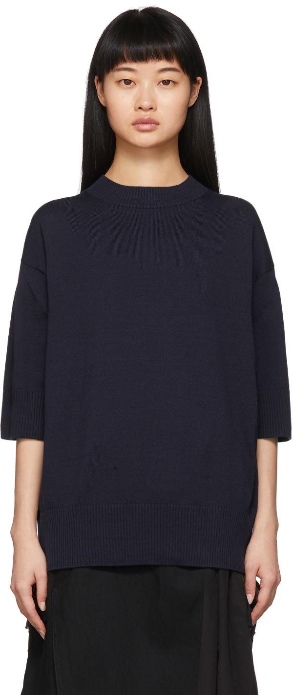 Sacai Navy Knit Chiffon Hem Sweater