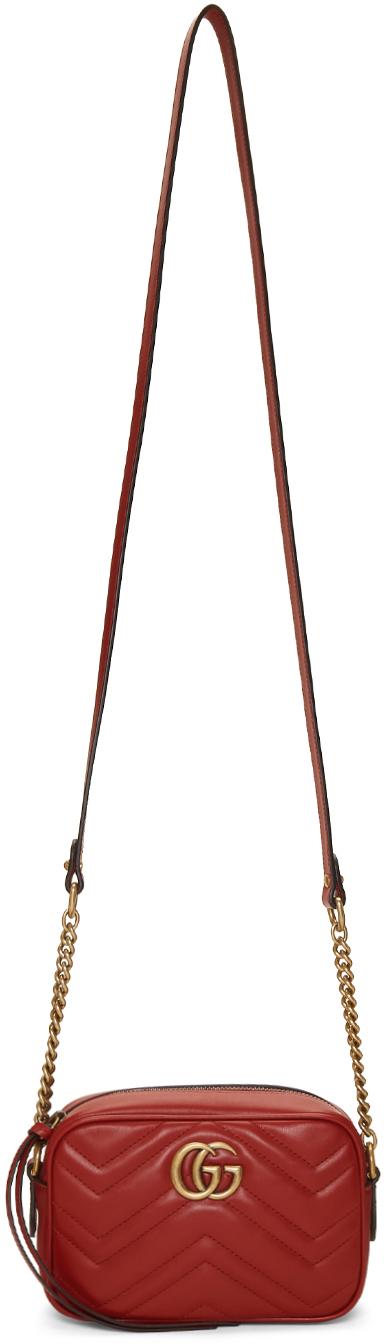 Gucci Red Mini GG Marmont 2.0 Camera Bag
